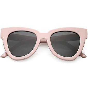 Oversize Horn Rimmed Cat Eye Sunglasses Neutral Colored Flat Lens 49mm