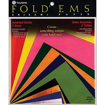Fold 'Ems Origami Paper 55 Pkg Assorted Colors 4104