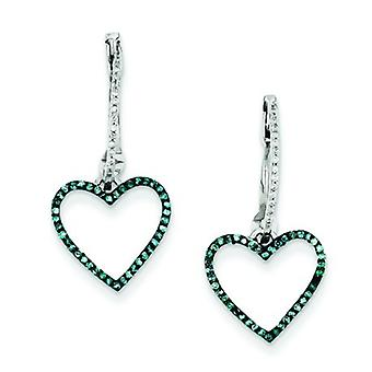 Sterling Silver Dangle Gift Boxed Rhodium-plated Blue and White Diamond Heart Hinged Hoop Earrings