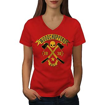 Wood Bikerss Women RedV-Neck T-shirt | Wellcoda