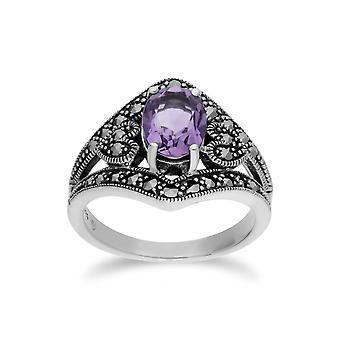 Gemondo Sterling Silver Amethyst & Marcasite Oval Art Nouveau Ring