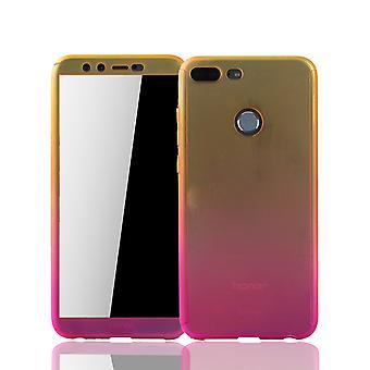 Huawei honor 9 Lite ambulant foretage en opringning shell beskyttelse tilfælde dække tank beskyttelse glas gul / pink