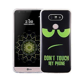 Handy Hülle für LG G5 Cover Case Schutz Tasche Motiv Slim TPU + Panzer Schutz Glas 9H Dont Touch my Phone Grün