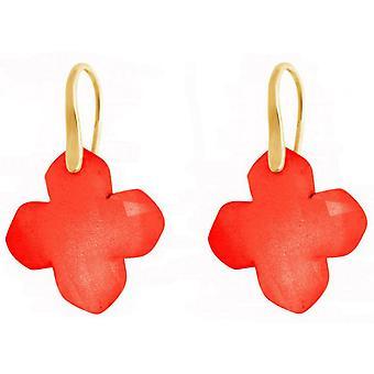 Øredobber gullbelagt damer - øredobber - 925 sølv - karneol - rød - 2,5 cm