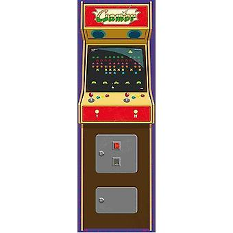 Arcade gamers long railway poster game console T rposter