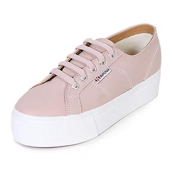 Superga Women's 2790 Nappaleaw Lace Up Leather Platform Trainer Pink