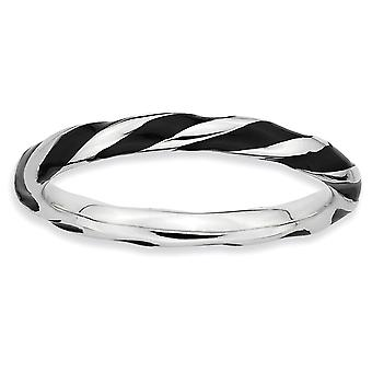 Sterling Silver Polished Rhodium-plated Twisted Black Enameled 2.4 x 2.0mm Stackable Ring - Ring Size: 5 to 10