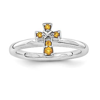 2.25mm Sterling Silver Rhodium-plated Stackable Expressions Rhodium Citrine Cross Ring - Ring Size: 5 to 10