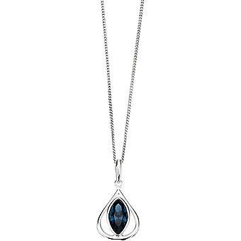 Elements Silver Oval Eye Pendant - Silver/Blue