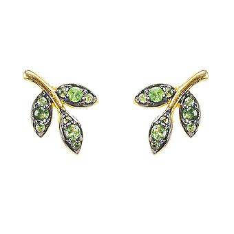Tsavorite Green Precious Gemstone Gold Earrings 925 sterling silver small studs