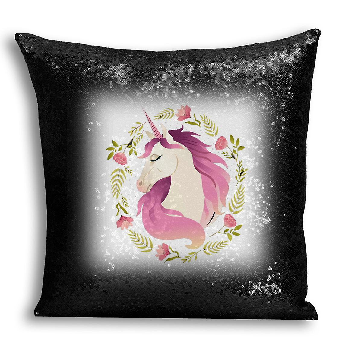 I Home Design Sequin Decor For CushionPillow Black tronixsUnicorn Printed 9 Cover 54ARLj