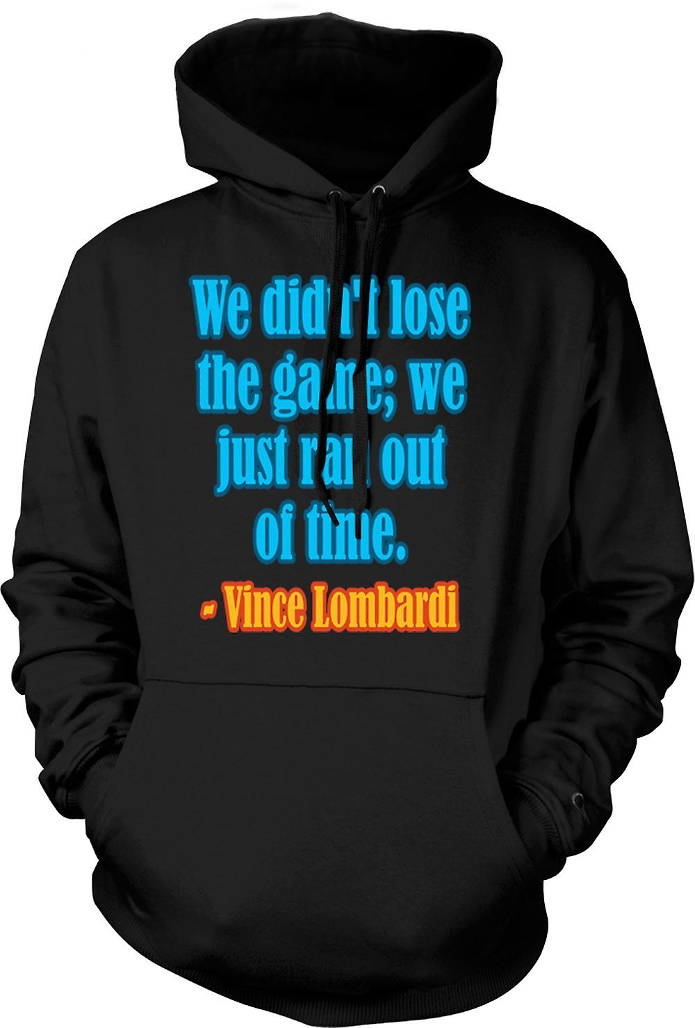 Mens Hoodie - We Just Ran Out Of Time Quote - Vince Lombardi