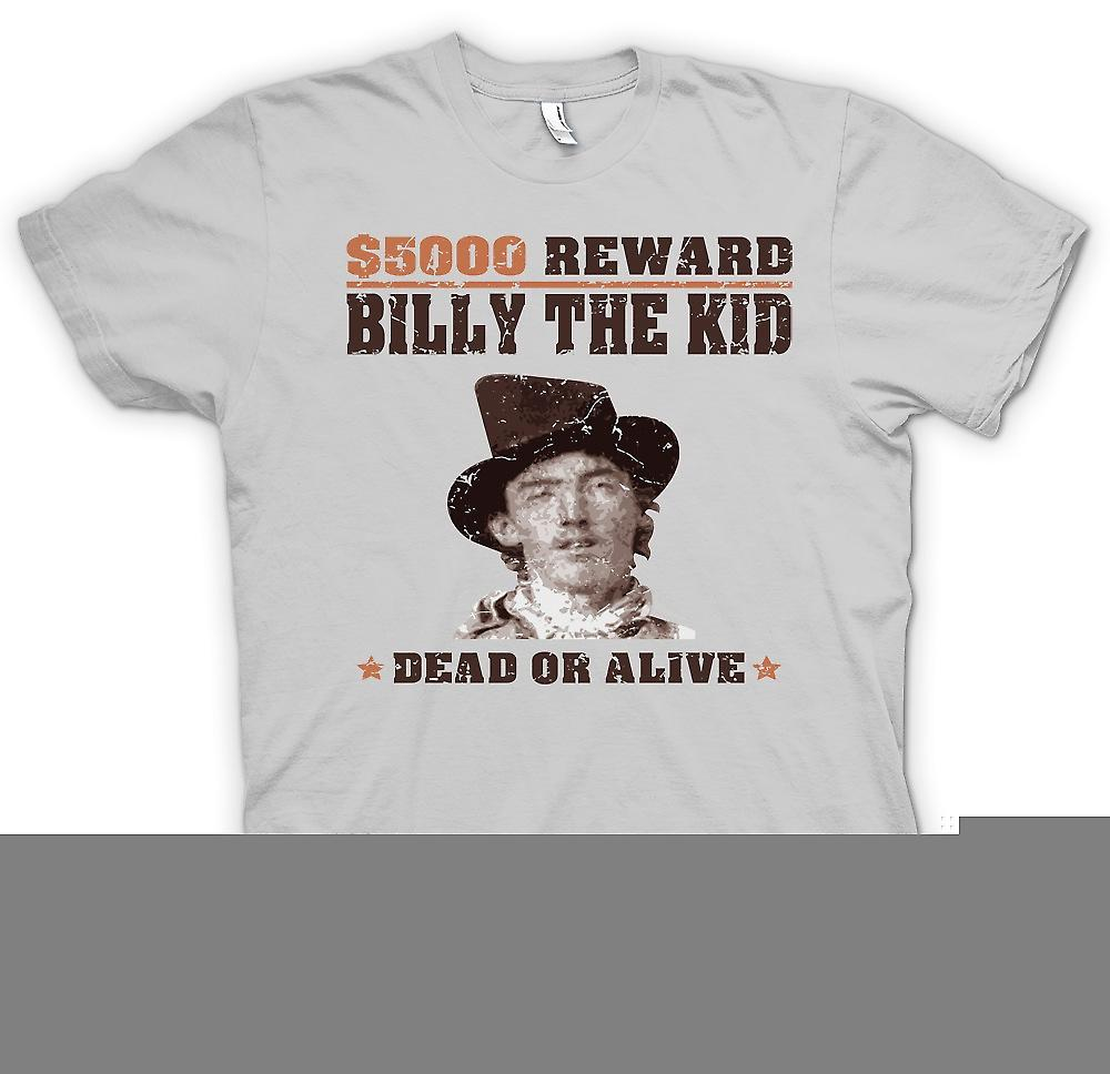 Heren T-shirt - $5000 belonen Billy de Kid - oude Western Gezocht Poster
