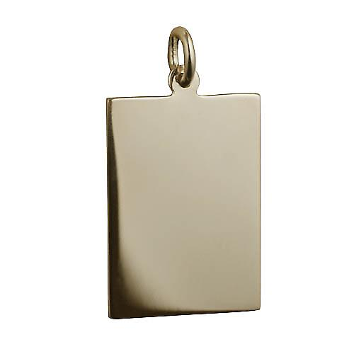 9ct Gold 25x18mm plain rectangular Disc