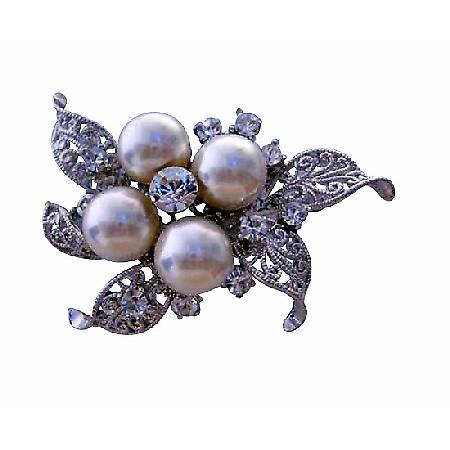Cubic Zircon & Pearls Bridemades Wedding Dress Brooch Pin