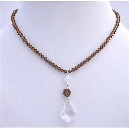 Smoked Topaz Swarovski Clear Crystals Polygon Beads Necklace