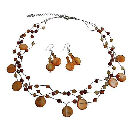 Beautiful Carnelian Shell Nugget Fancy Carnelian Beads Necklace Set