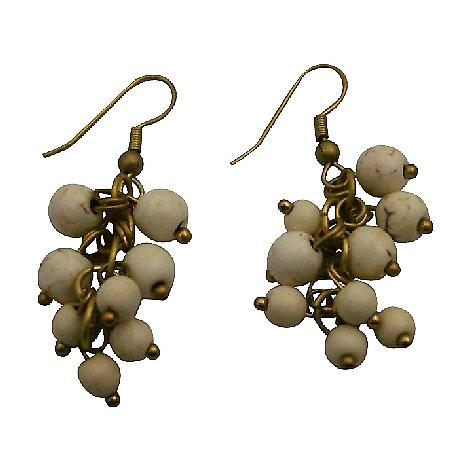 Winsome White Turquoise Cluster Earrings Dangle Earrings Gold Oxidized