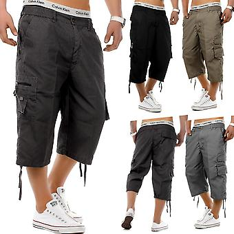 Men's Cargo Shorts 3/4 Bermuda casual pants Trousers with lockable side pockets