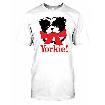 Yorkie Wearing A Red Ribbon - Yorkshire Terrier Kids T Shirt