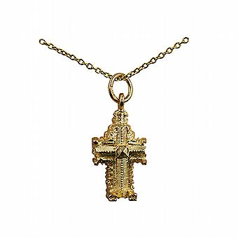 9ct Gold 11x17mm hollow Westminster Abbey Pendant with a cable Chain 16 inches Only Suitable for Children