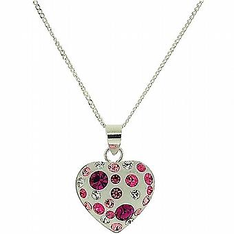 TOC Sterling Silver Pink Rhinestone Set Puffed Heart Pendant Necklace 16