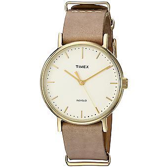 Timex Unisex Fairfield 37 in pelle color tortora Slip-Thru Strap Watch TW2P98400