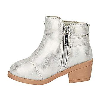 Toddler Girls Metallic Boots with Buckle Straps Slip-On Mid-Heel Fashion PU Shoes