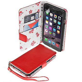 Caseflex iPhone 6 Plus and 6s Plus LeatherEffect Wallet Case – Red with Floral Lining