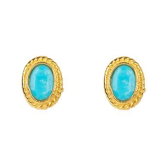 Gold Gemstone Birthstone Stud Earring December Turquoise Light Blue Small Gift