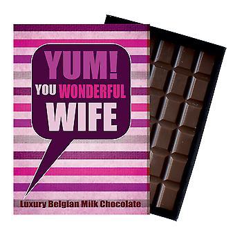 Gift voor vrouw voor verjaardag verjaardag of om te zeggen dank u chocolade wenskaart aanwezig voor haar YUM106