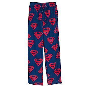 Superman Crest Repeat Men's Fleece Pajama Pants