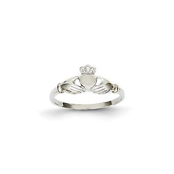 14k White Gold Polished and Satin Claddagh Ring - 1.3 Grams - Size 6