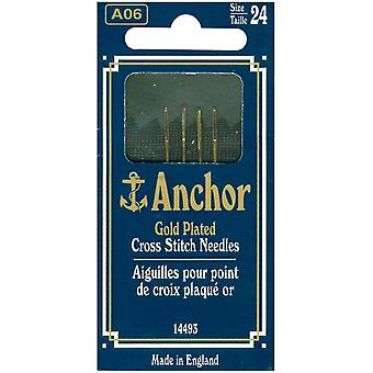 Anchor Gold Plated Tapestry Needles Size 24 4 Pkg 14493 24