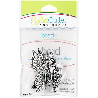 Eyelet Outlet Shape Brads 12/Pkg-Coloring Book Butterflies QBRD2-105