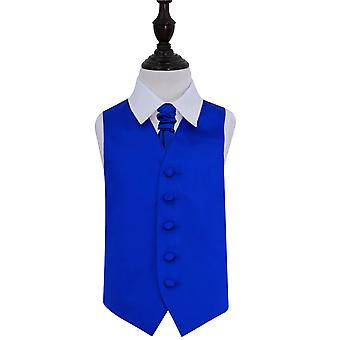 Boy's Royal Blue Plain Satin Wedding Waistcoat & Cravat Set