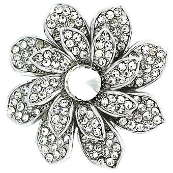 Broscher Store Silver & Crystal Layered Aster blomma brosch