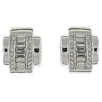 Kenneth Jay Lane Clear Baguette Crystal Deco Clip On Earrings