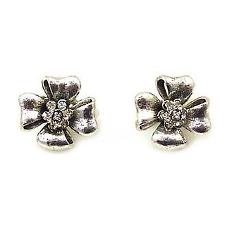 Clip On Earrings Store Black Diamond  and  Antique Silver Flower Clip On Earring
