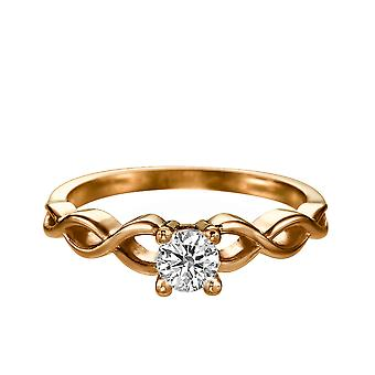 0,4 karat E VS1 diamant Engagement Ring 14K Rose Gold Solitaire reb flettet