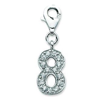 Sterling Silver Cubic Zirconia Numeral 8 With Lobster Clasp Charm - Measures 26x8mm