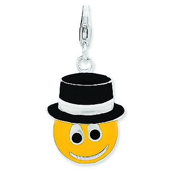 Sterling Silver Rhodium-plated Fancy Lobster Closure Enameled Face With Top Hat W Lobster Clasp Charm