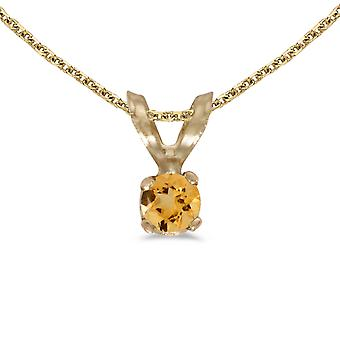 14k Yellow Gold Round Citrine Pendant with 18
