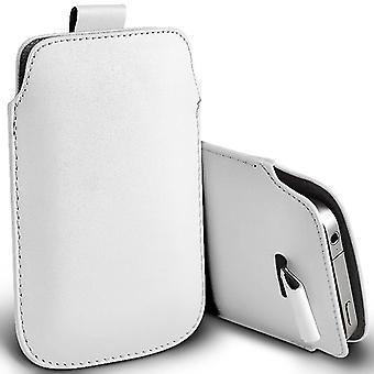 ONX3 (White) BLU Grand Max Case Slip In Pull Tab Faux Leather Pouch Case Cover
