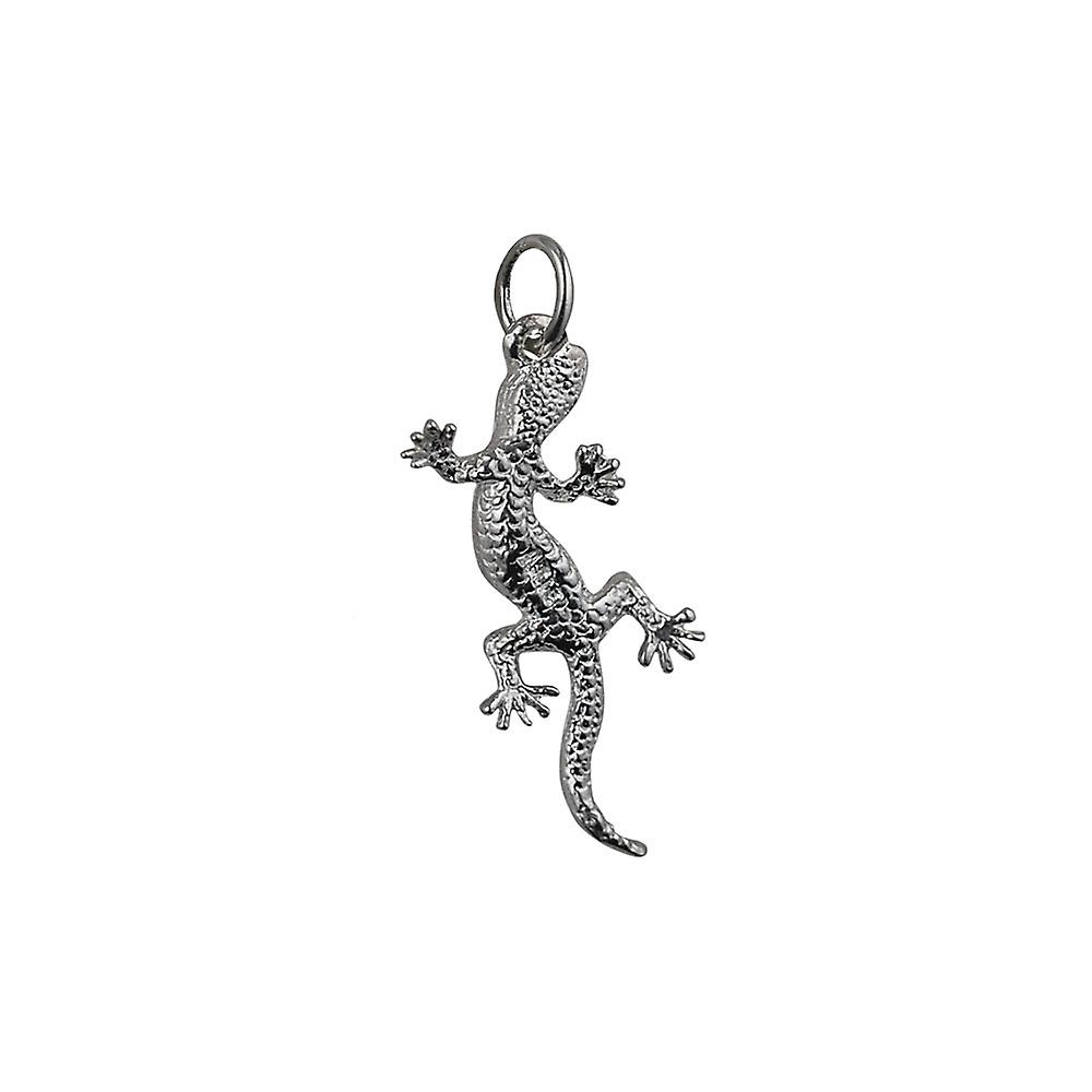 Silver 26x13mm Lizard Pendant or Charm