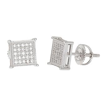 Sterling 925 Silber MICRO PAVE Ohrstecker - SQUARE 8mm