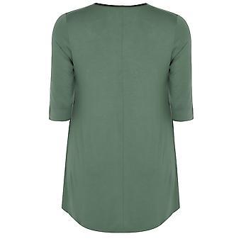 Khaki Longline Jersey Swing Top With PU Trim & Half Sleeves