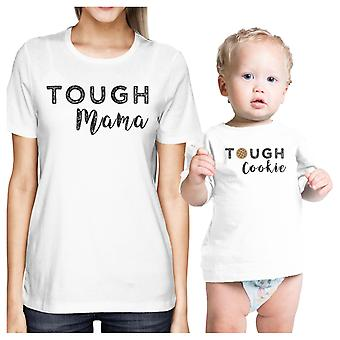 Tough Mama & Cookie White Funny Mom and Baby Matching Outfits Gifts