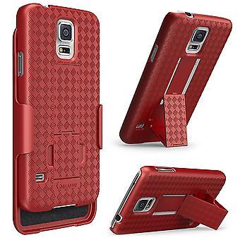 i-Blason-Samsung Galaxy S5 del caso - transformador Slim cáscara dura funda Combo Cover - rojo