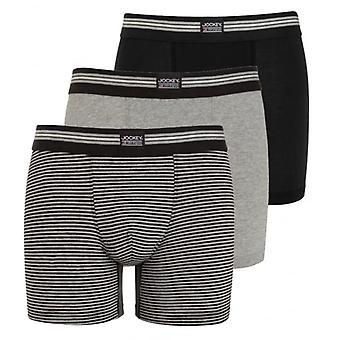 Jockey 3-Pak bomuld stræk bokser underbenklæder, sort/grå